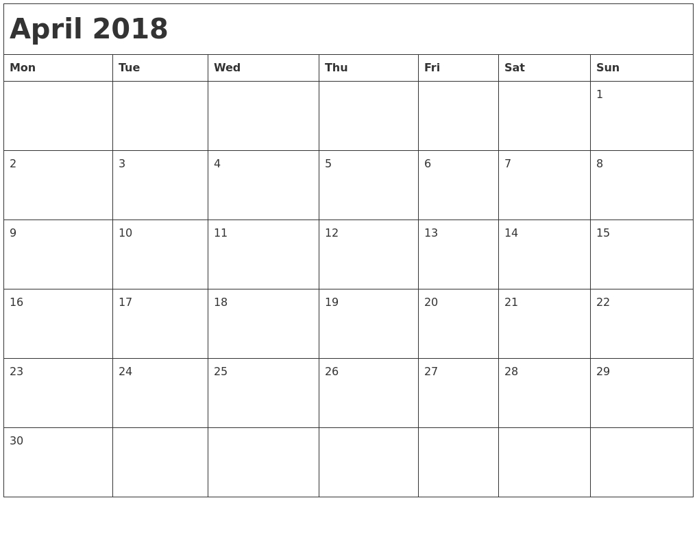 November Calendar With Holidays Canada 2018 — April