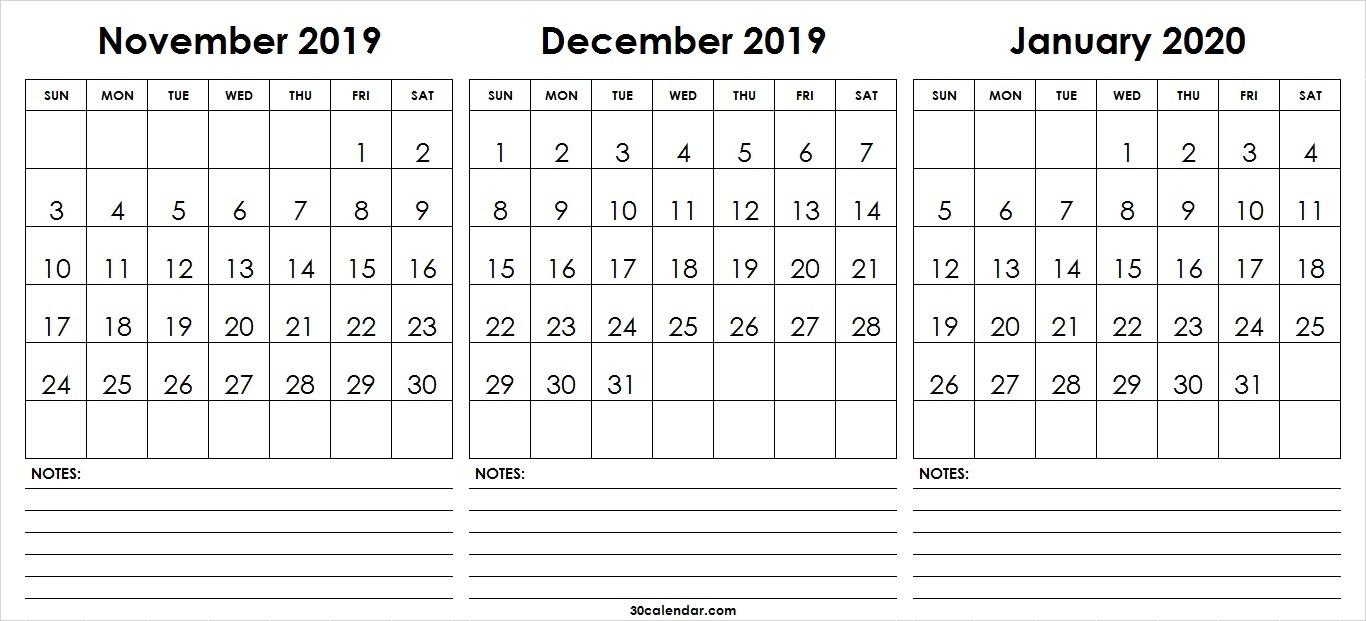 November December 2019 January Calendar 2020 | 3 Month