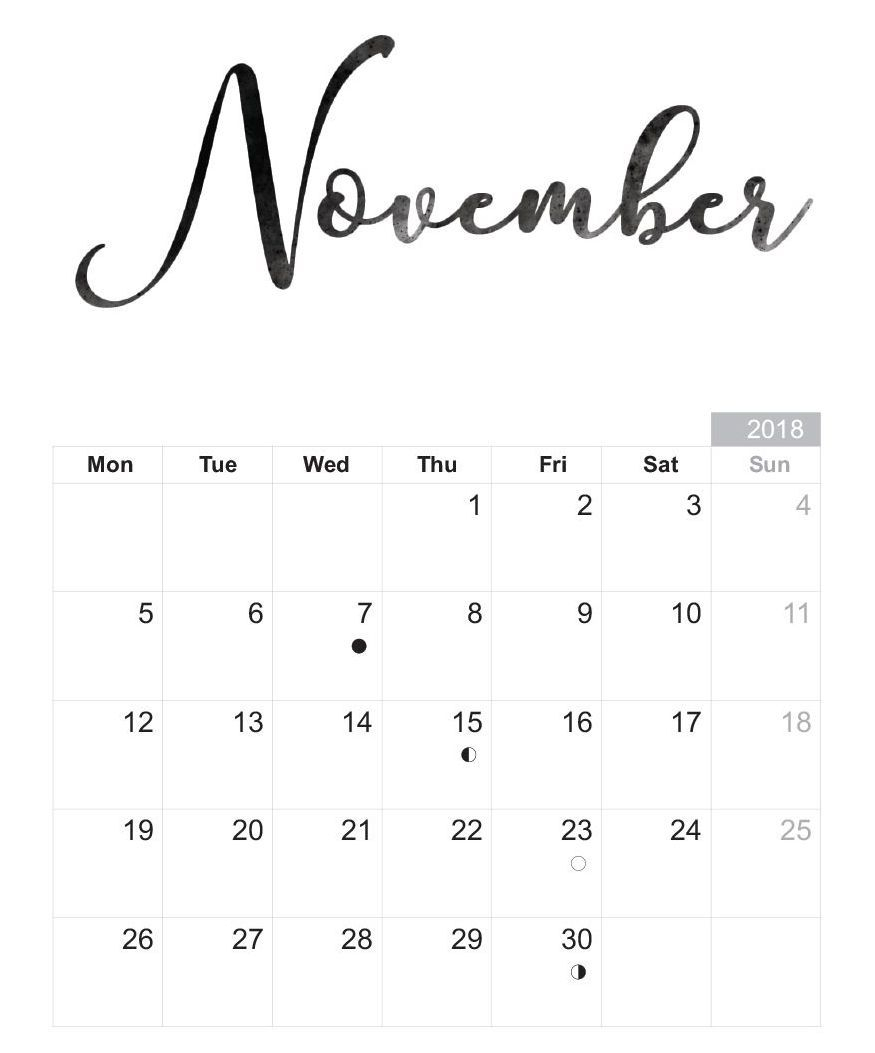 November Printable Calendar Free Download | November