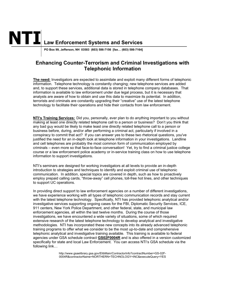Nti-Law Enforcement Systems