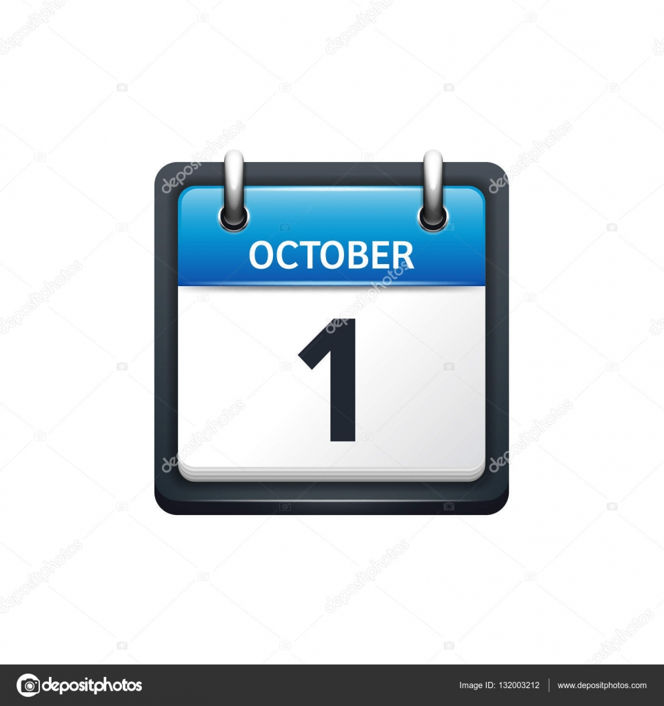 October 1. Calendar Icon.vector Illustration,flat Style