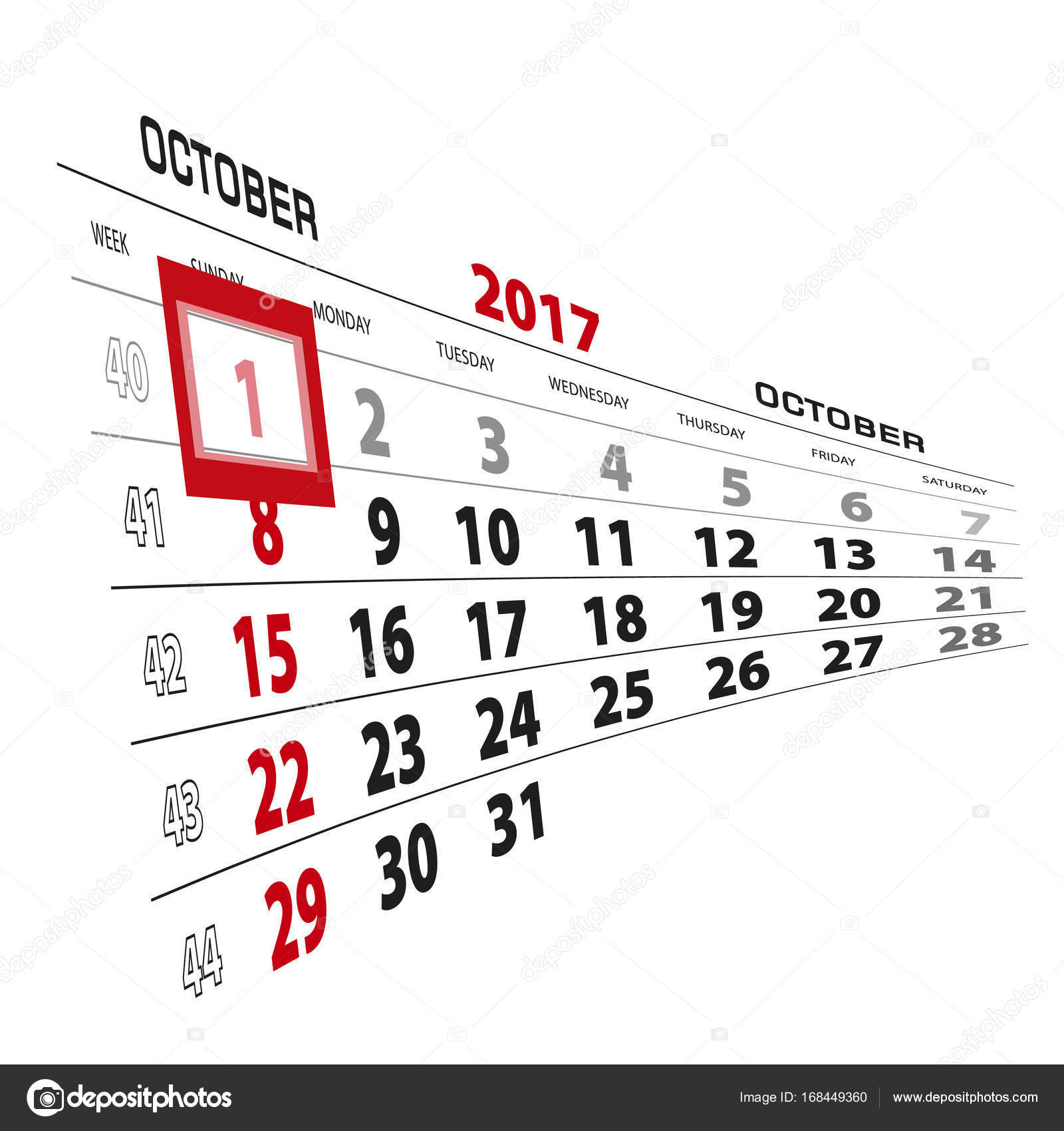 October 1, Highlighted On 2017 Calendar. Week Starts From