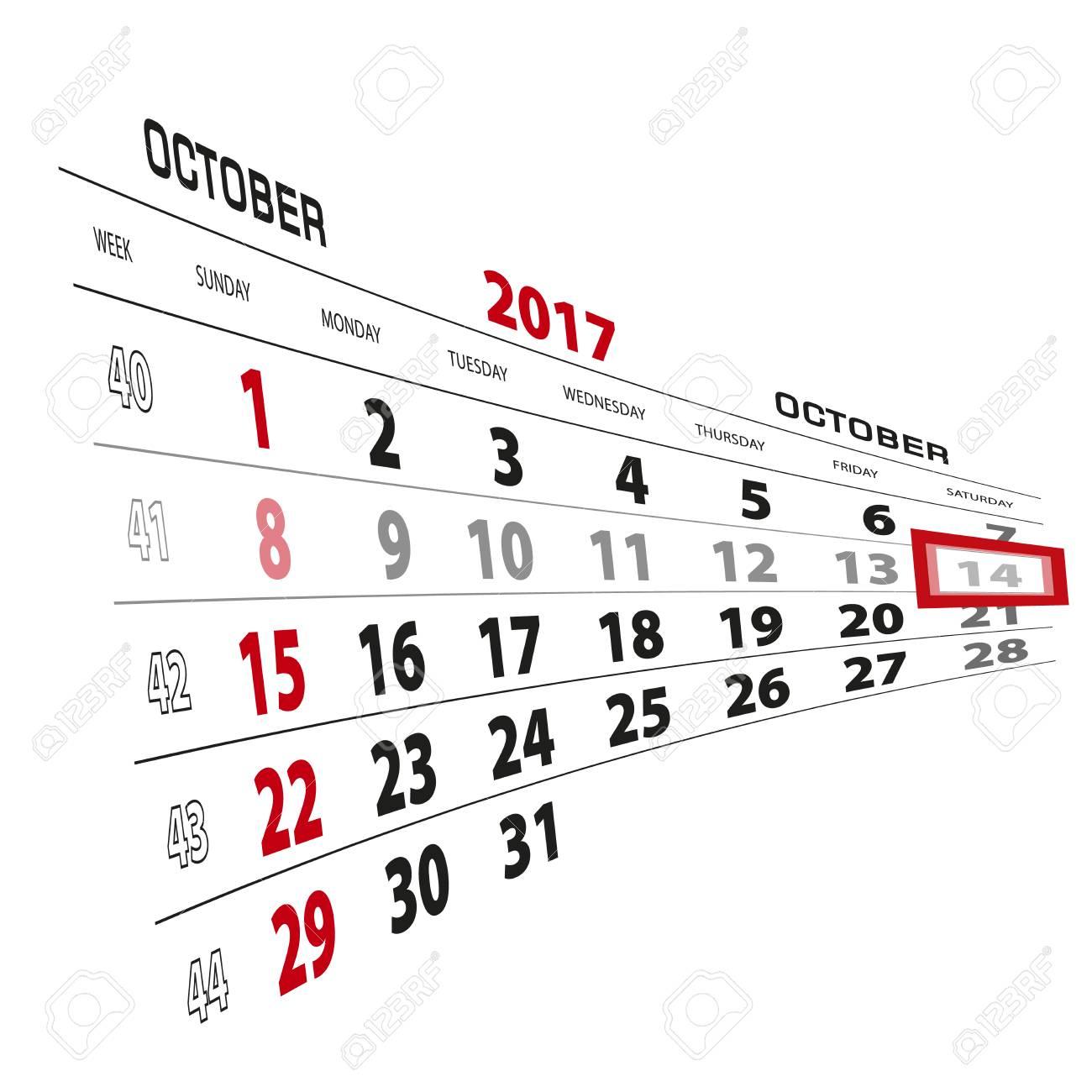 October 14, Highlighted On 2017 Calendar. Week Starts From Sunday. Vector  Illustration.