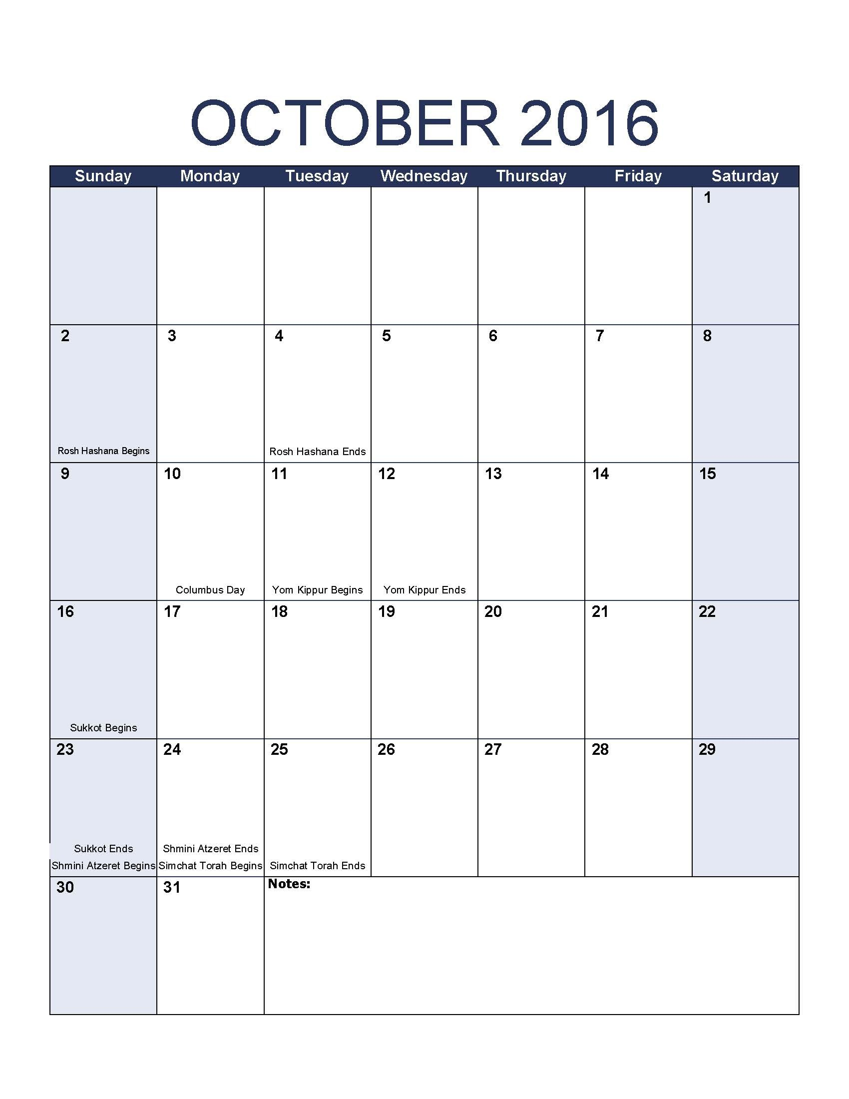 October 2016 Calendar Template Intended For Jewish Holidays