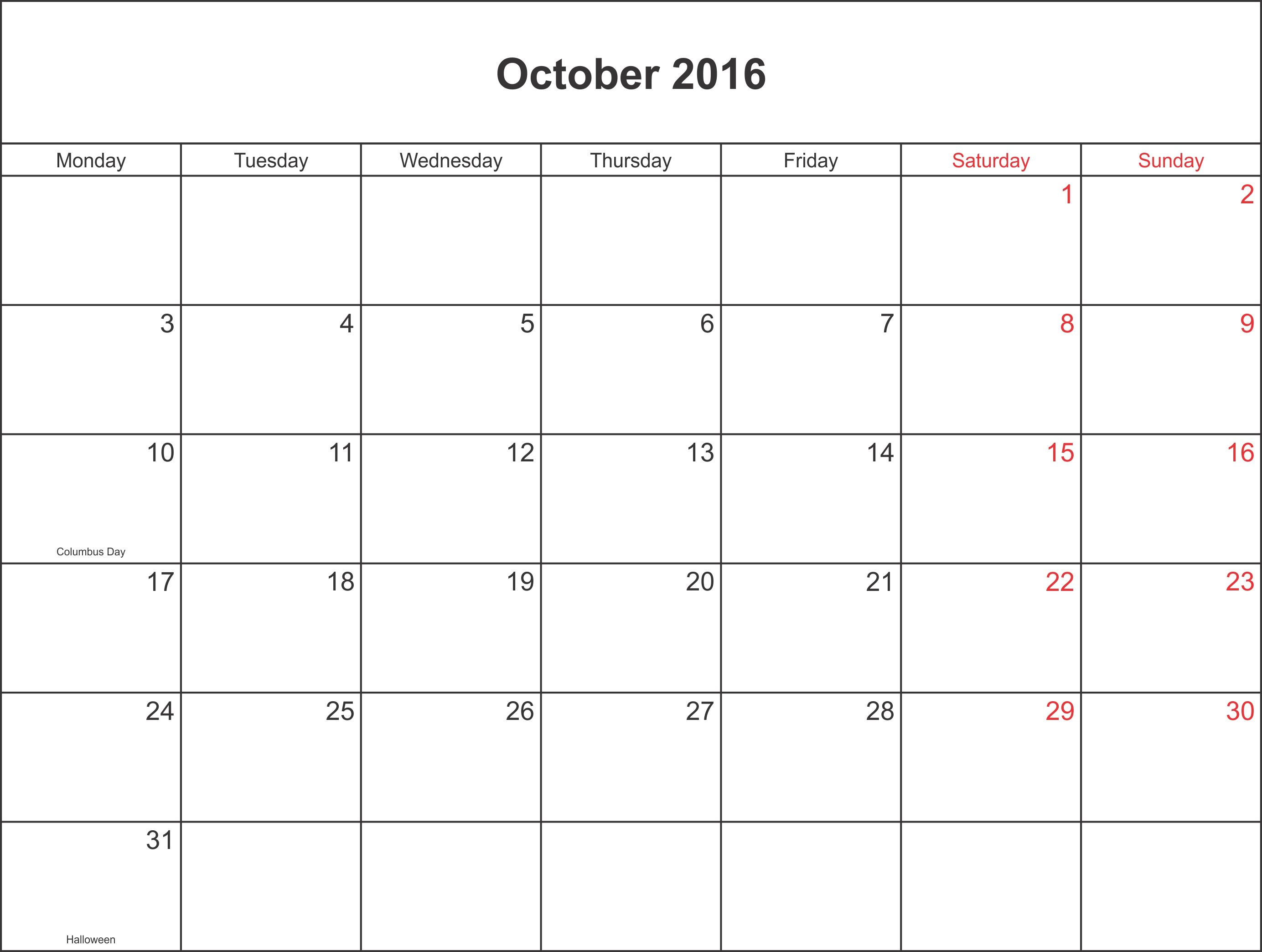 October 2016 Calendar Waterproof : Search Anything About