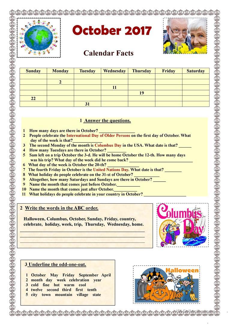 October 2017 Calendar Facts - English Esl Worksheets
