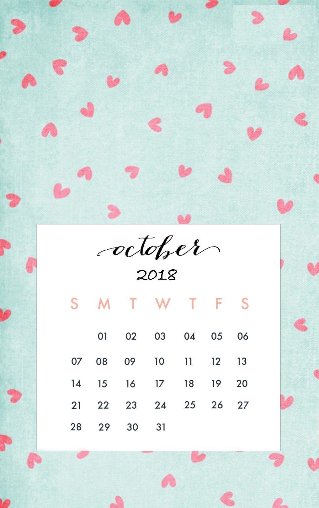 October 2018 Iphone Calendar Wallpaper | Calendar Wallpaper