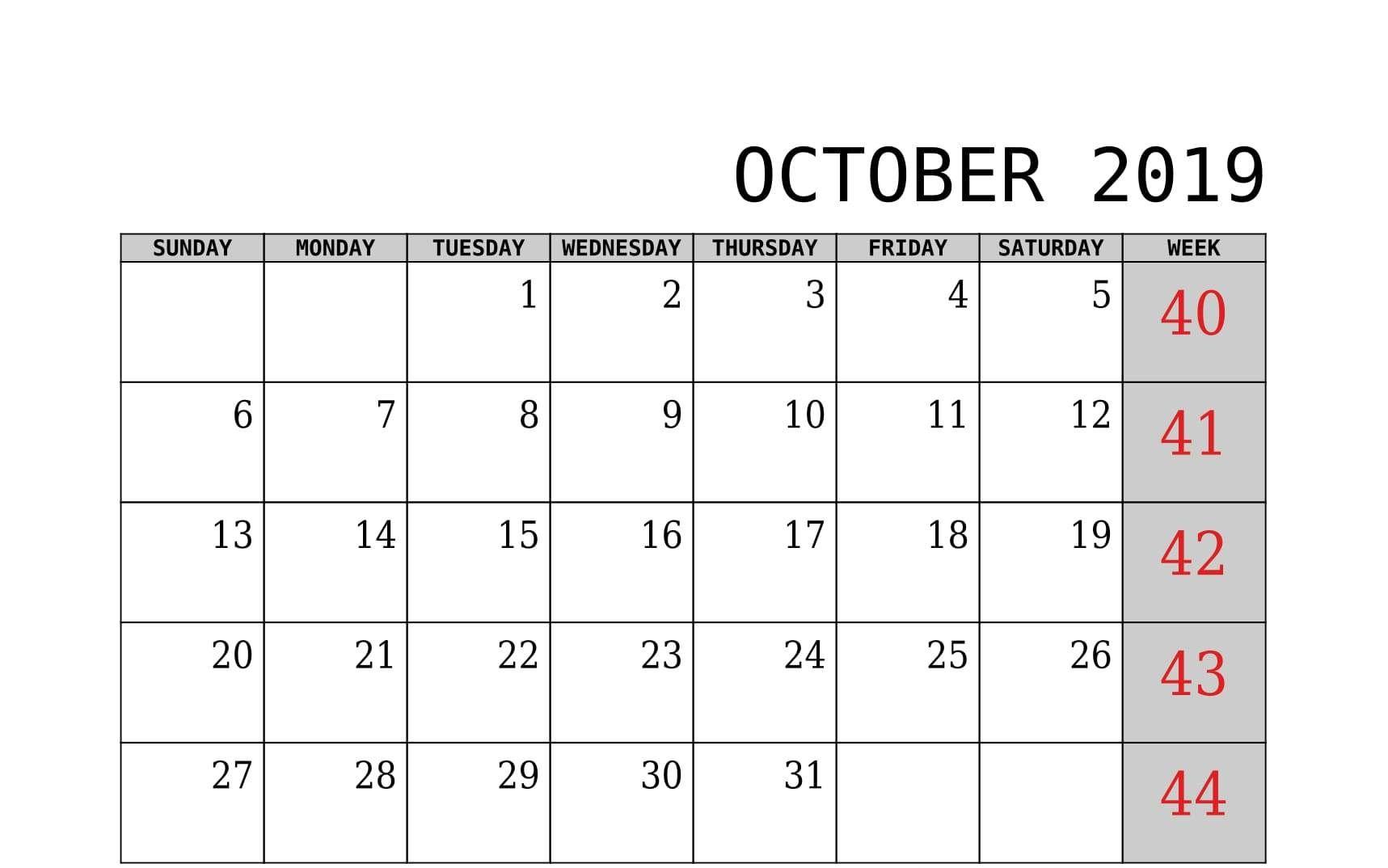 October 2019 Calendar With Week Template Printable   2019
