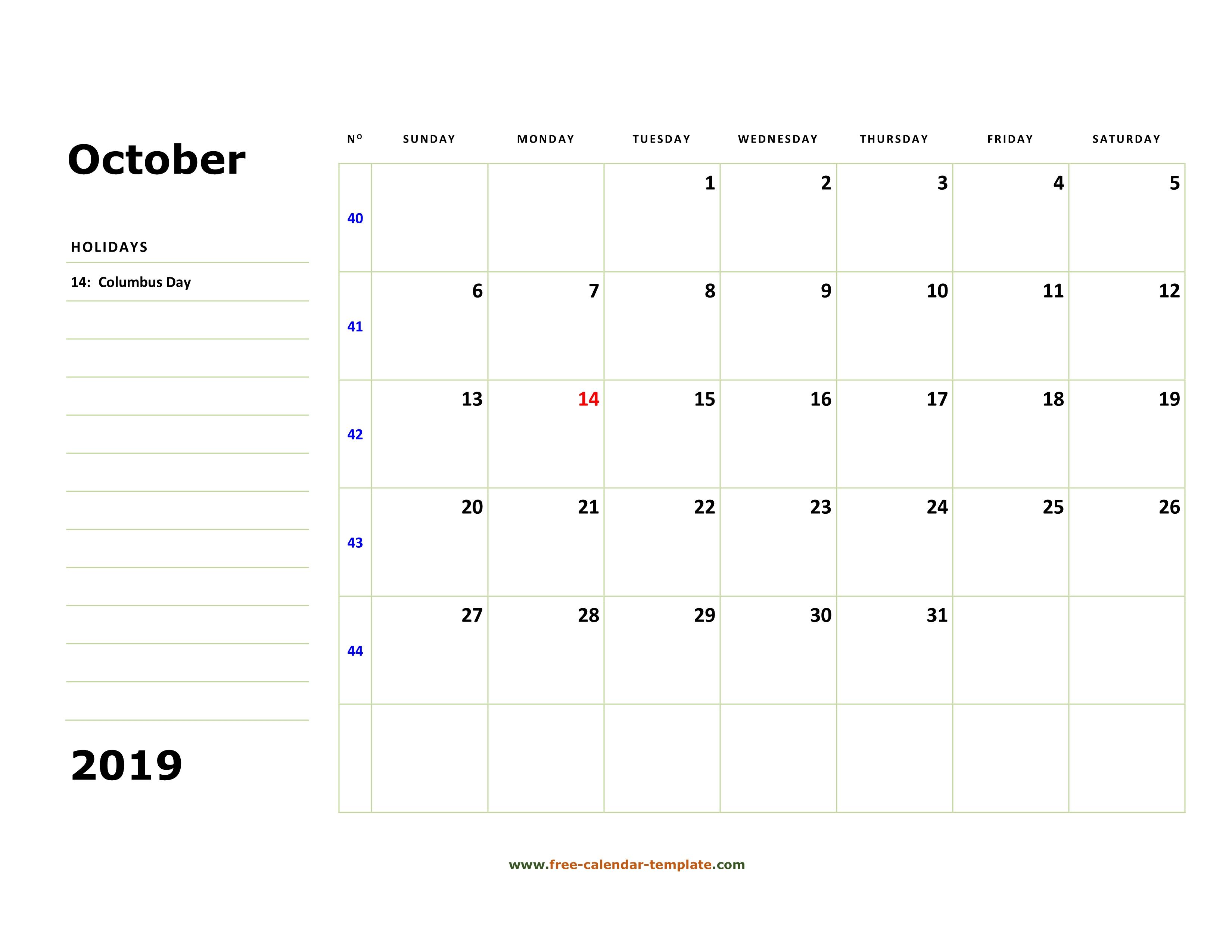 October 2019 Free Calendar Tempplate | Free-Calendar