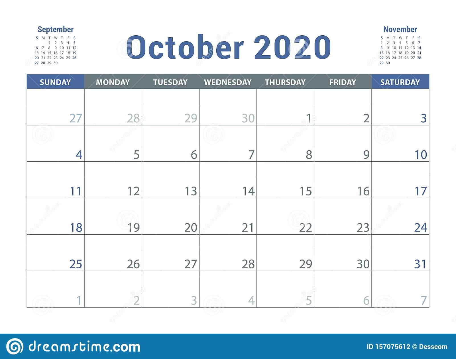 October 2020 Calendar. English Planner. Сolor Vector