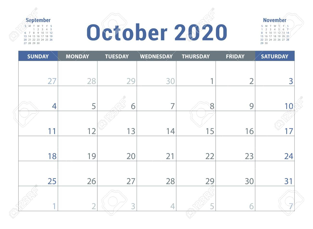 October 2020 Calendar. English Planner. Ð¡olor Vector Template. Week Starts  On Sunday. Business Planning. New Year Calender. Clean Minimal Table.