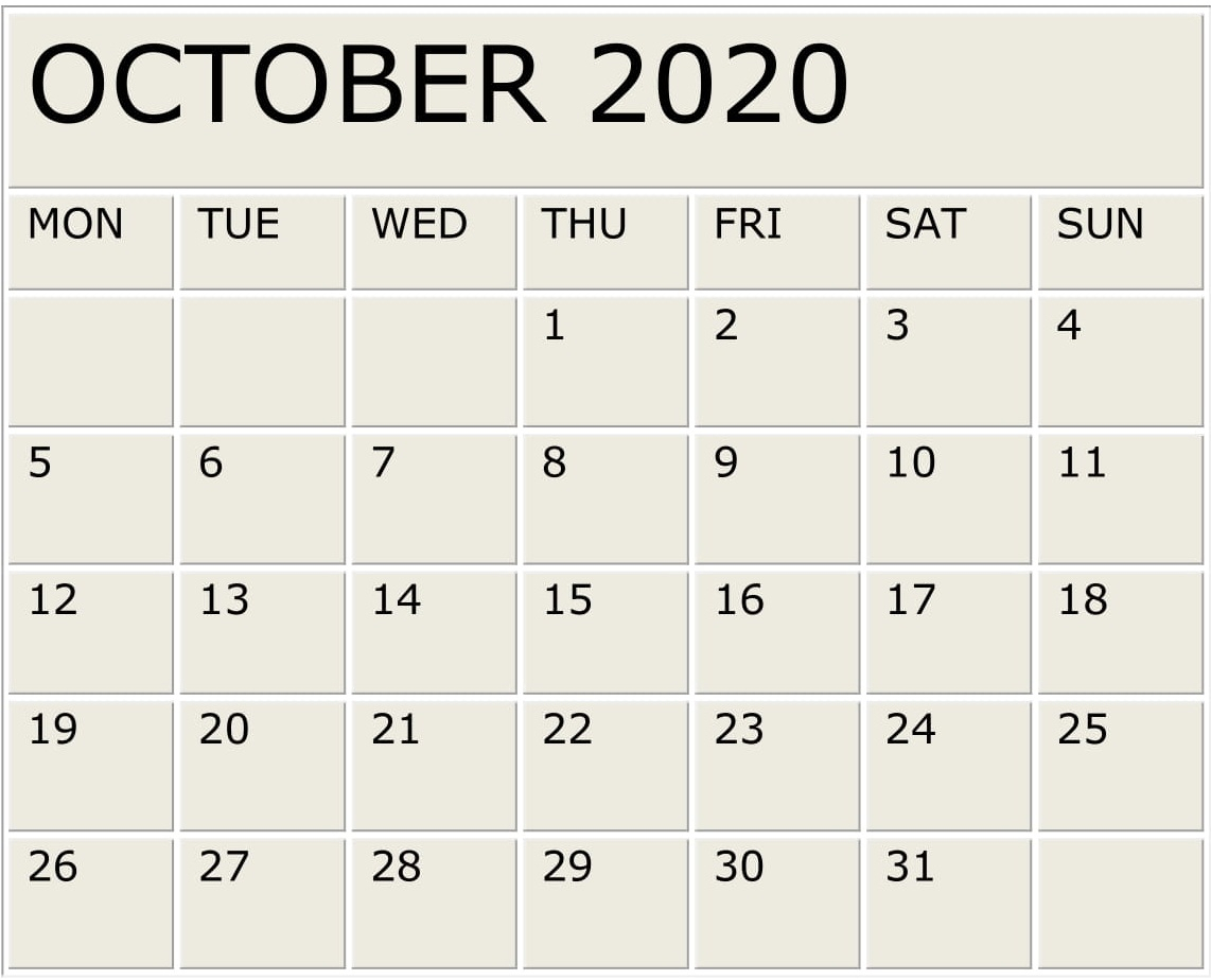October 2020 Calendar Monthly Template – Free Latest