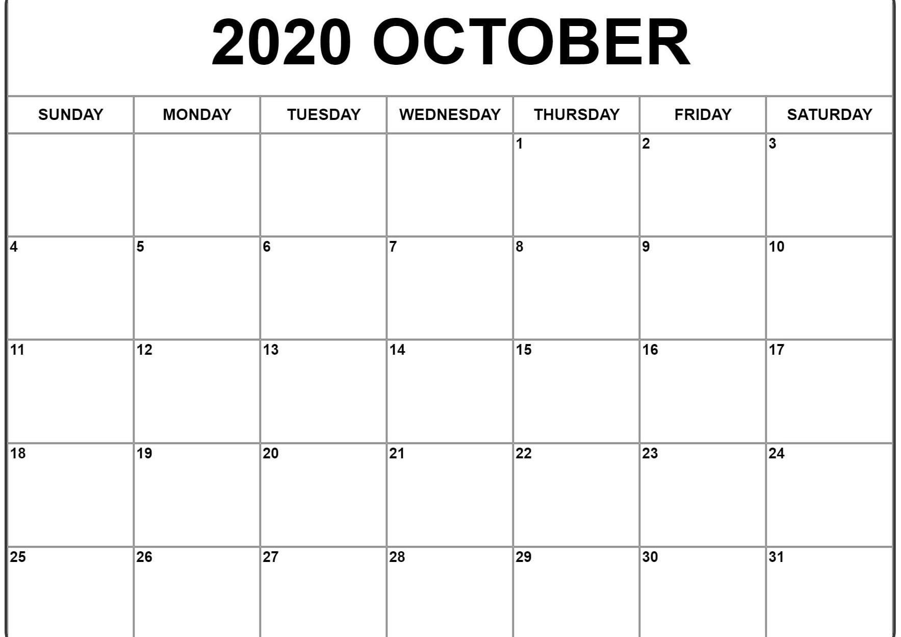 October 2020 Calendar Pdf, Word, Excel Template 2 | October
