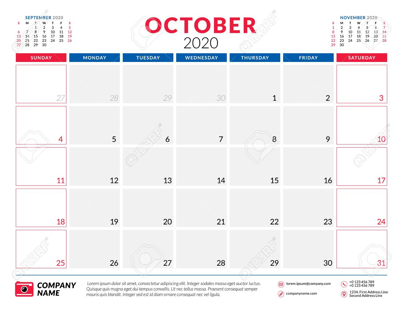 October 2020. Calendar Planner Stationery Design Template. Vector..