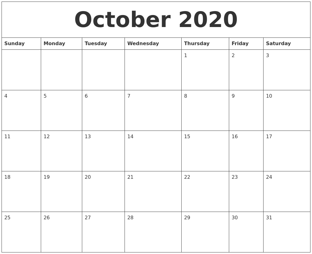 October 2020 Calender Print