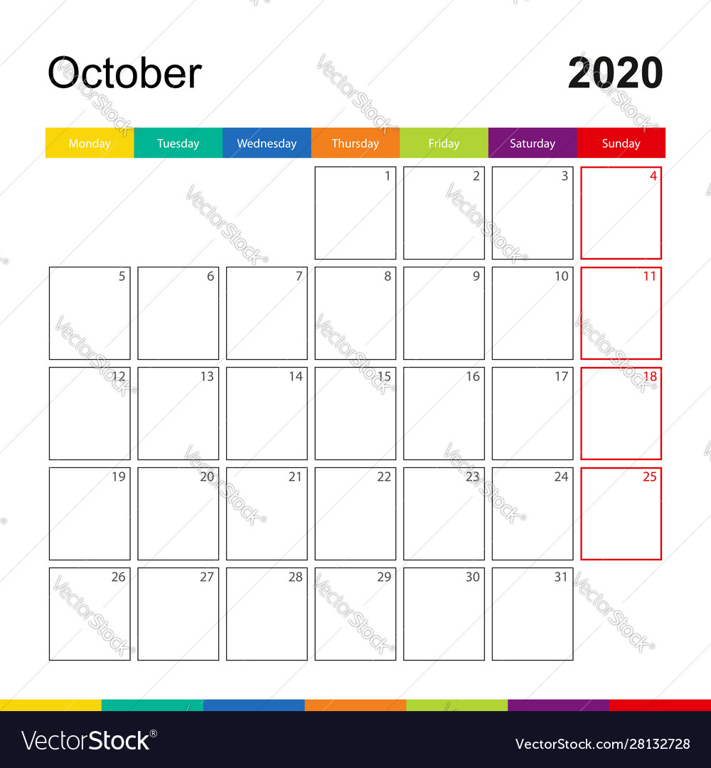 October 2020 Colorful Wall Calendar Week Starts