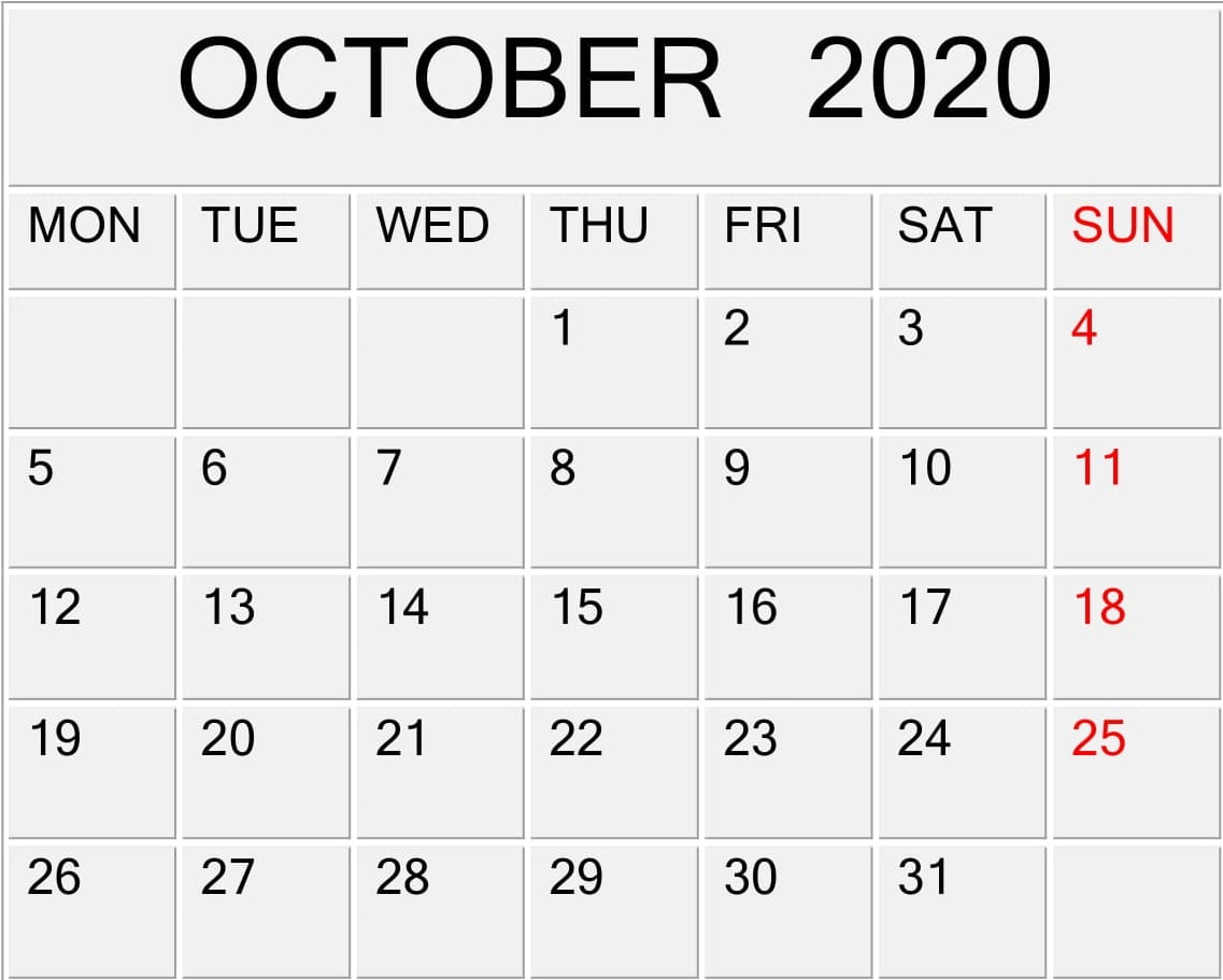 October 2020 Printable Calendar Pdf Template – Free Latest