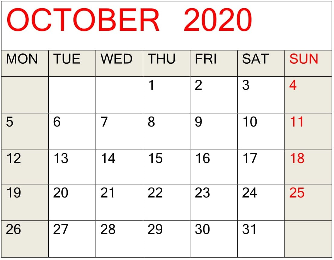 October 2020 Printable Calendar Pdf Template – Free Latest