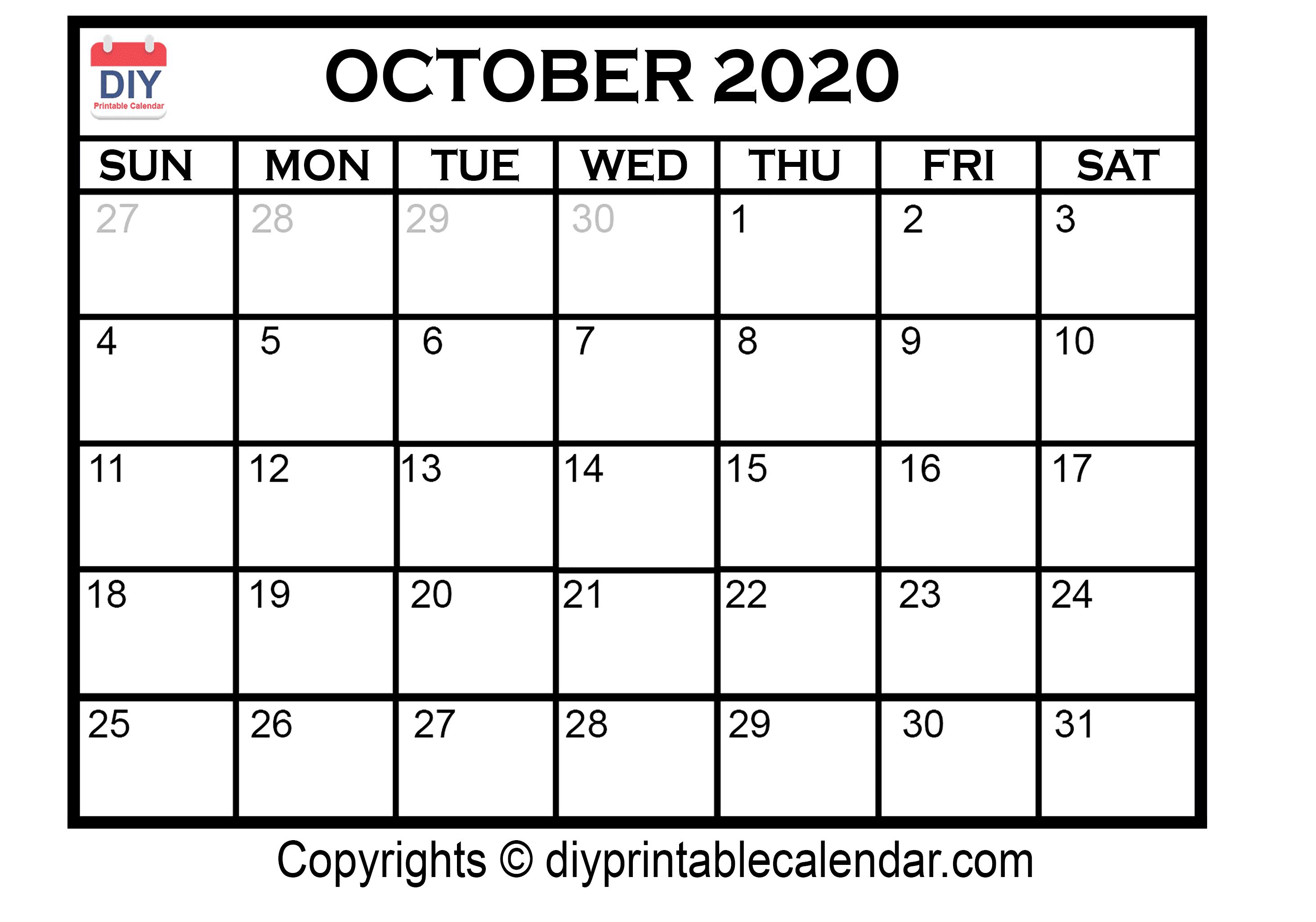 October 2020 Printable Calendar Template