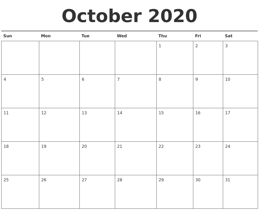 October 2020 Printable Calendar - Wpa.wpart.co