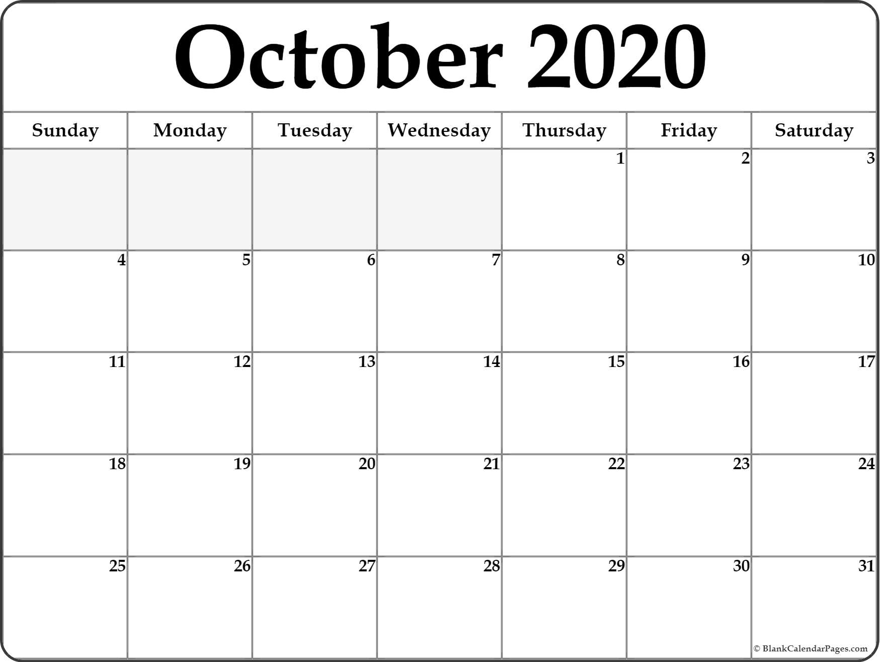 October 2020 Printable Calendar - Wpa.wpart.co