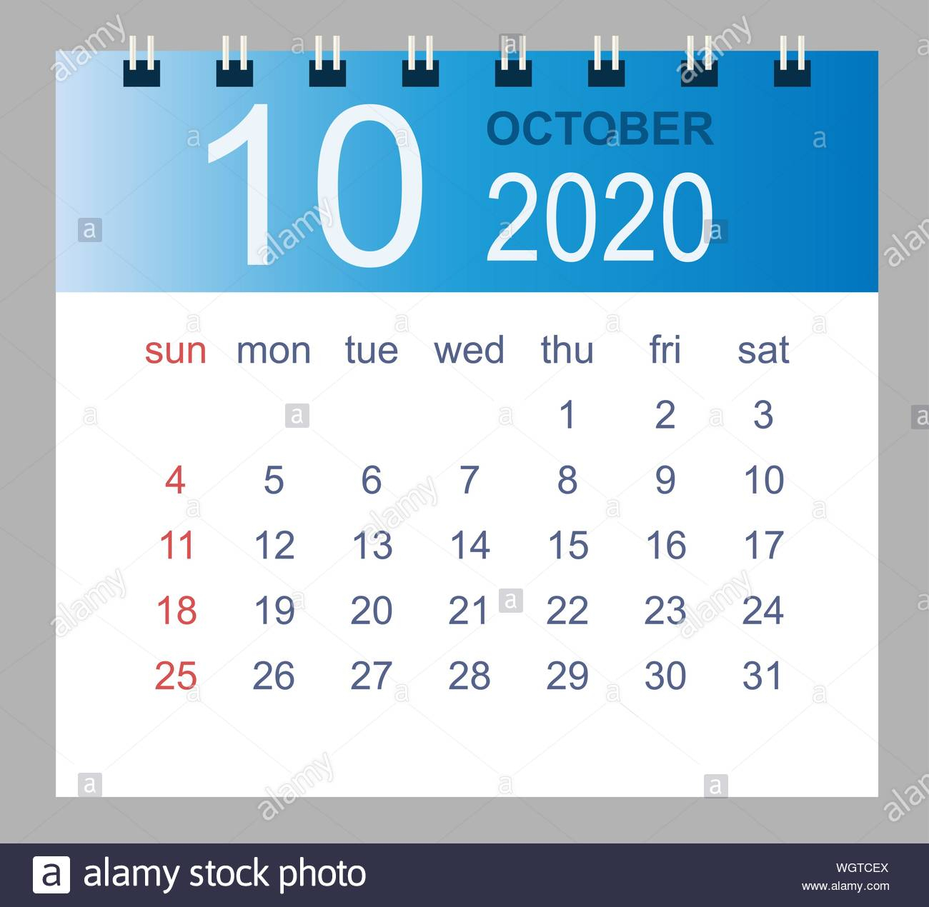 October 2020. Vector Monthly Calendar Template 2020 Year In
