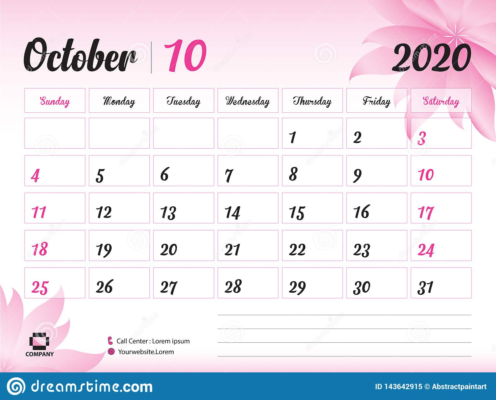 October 2020 Year Template, Calendar 2020 Vector, Desk