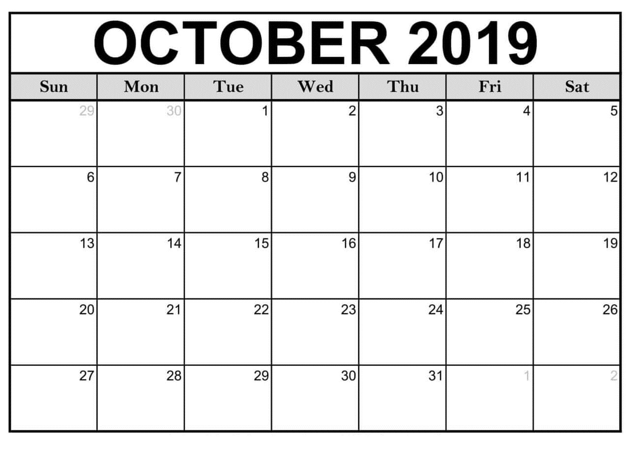 October Calendar 2019 Google Planner - Latest Printable