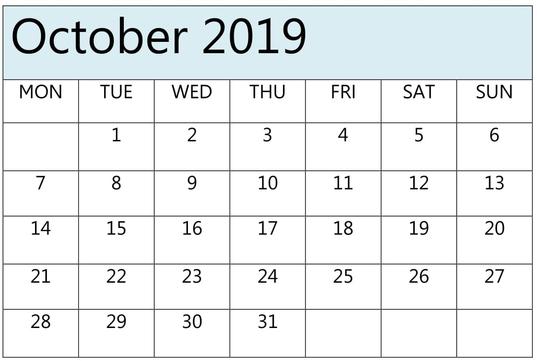 October Calendar 2019 Pdf, Excel Download – Free Latest