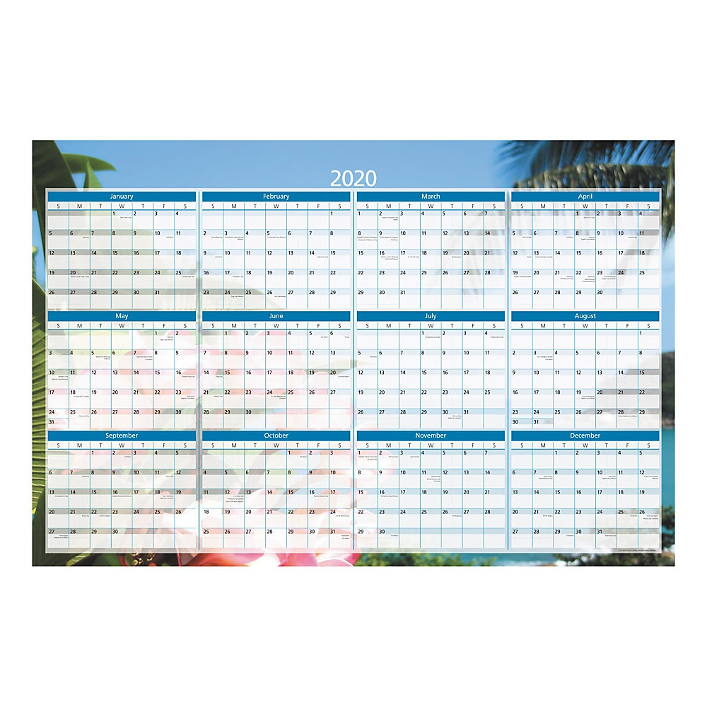 """Office Depot® Brand Yearly Erasable Wall Calendar, 36"""" X 24"""", Multicolor,  January To December 2020, Od303228"""