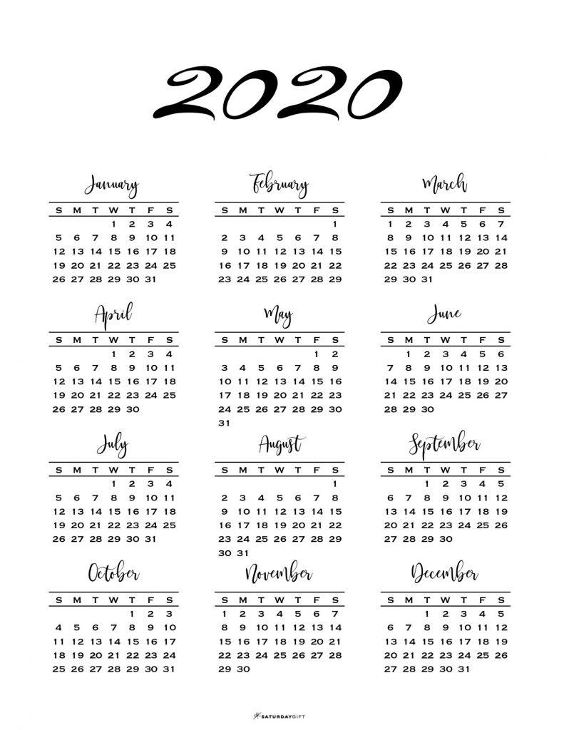 One Sheet Calendar 2020 - Wpa.wpart.co