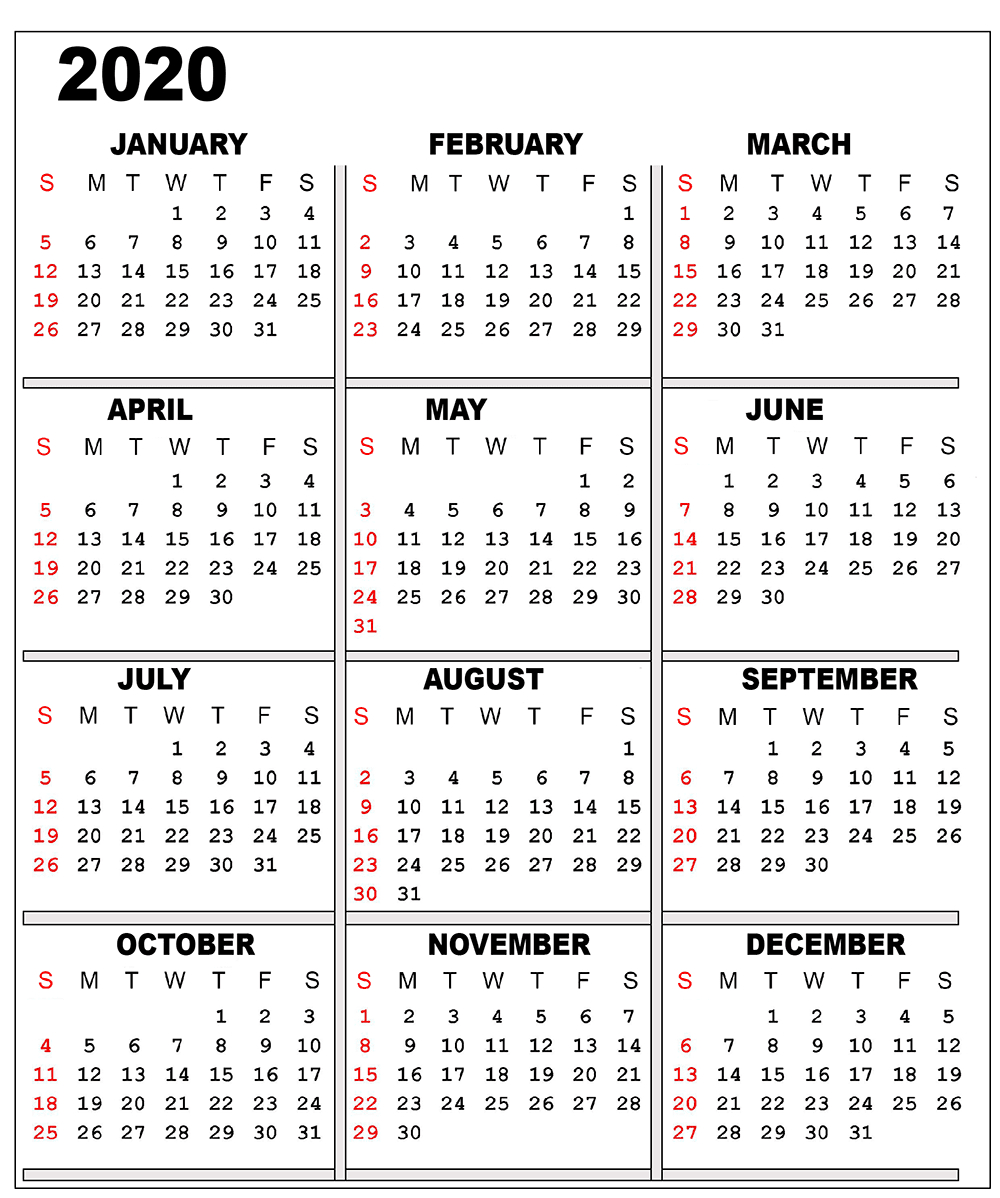 One Sheet Calendar 2020 - Wpa.wpart.co
