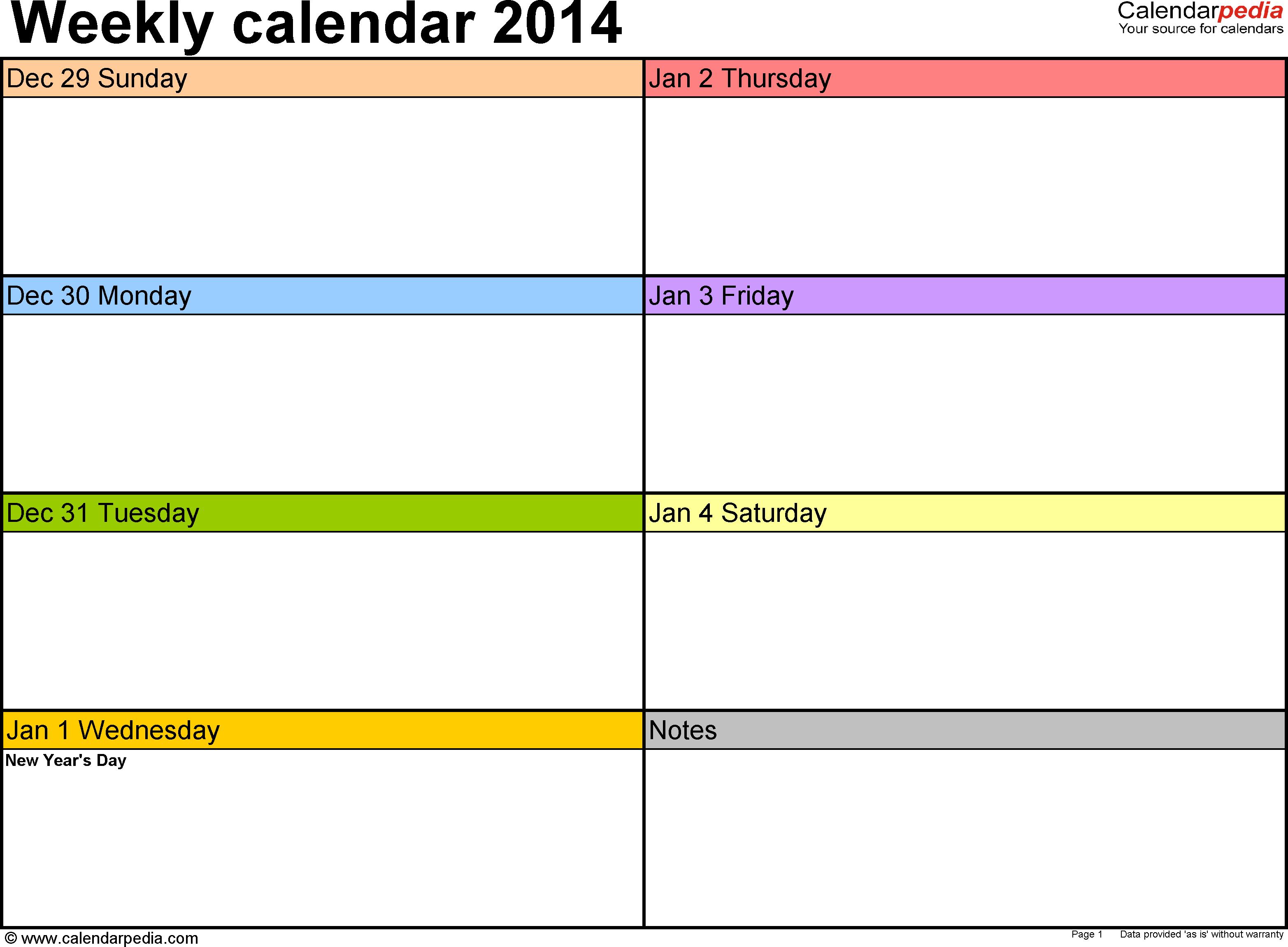 One Week Calendar - Wpa.wpart.co