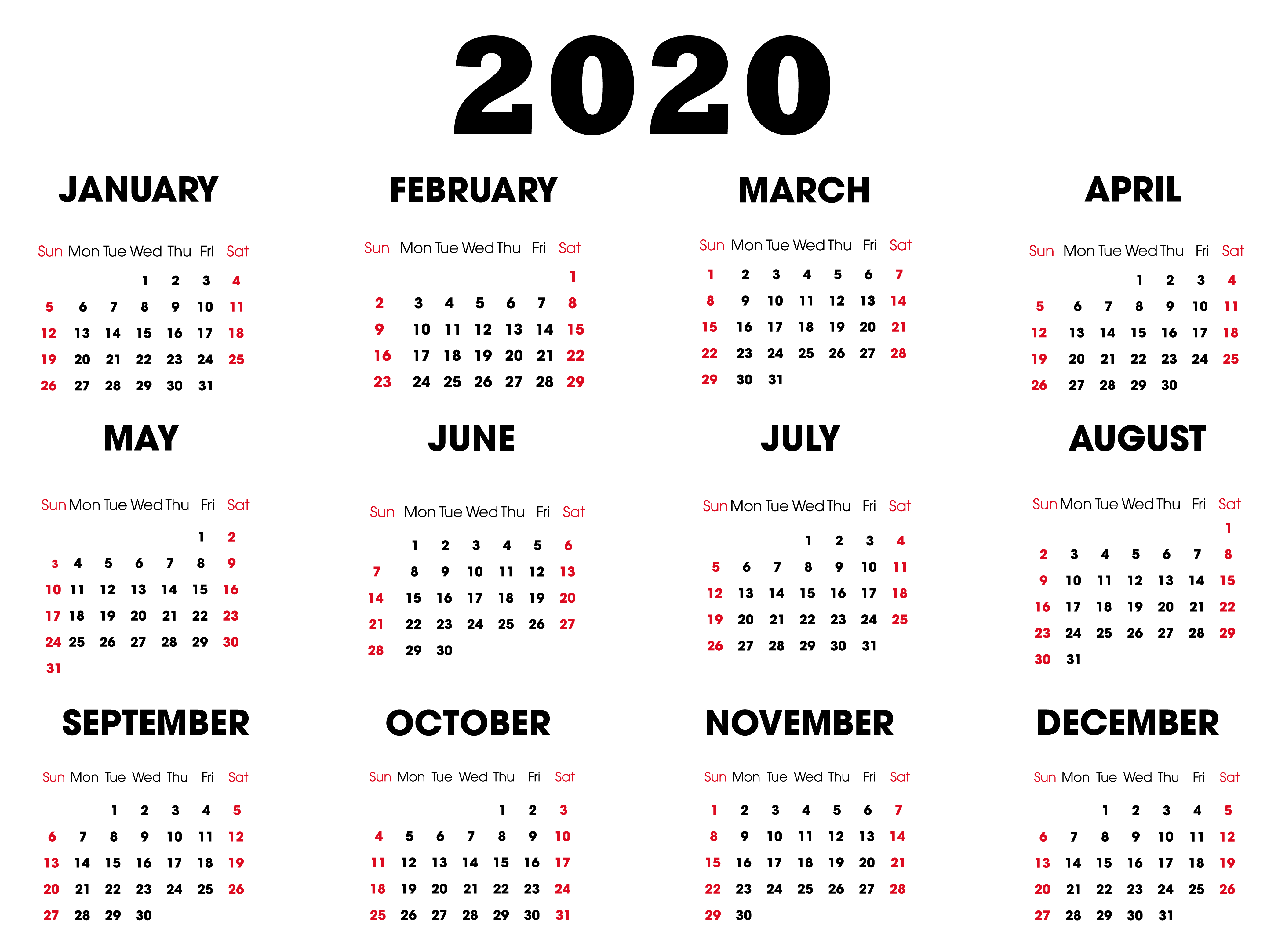 One Year Small Calendar 2020 Template Horizontal - Set Your