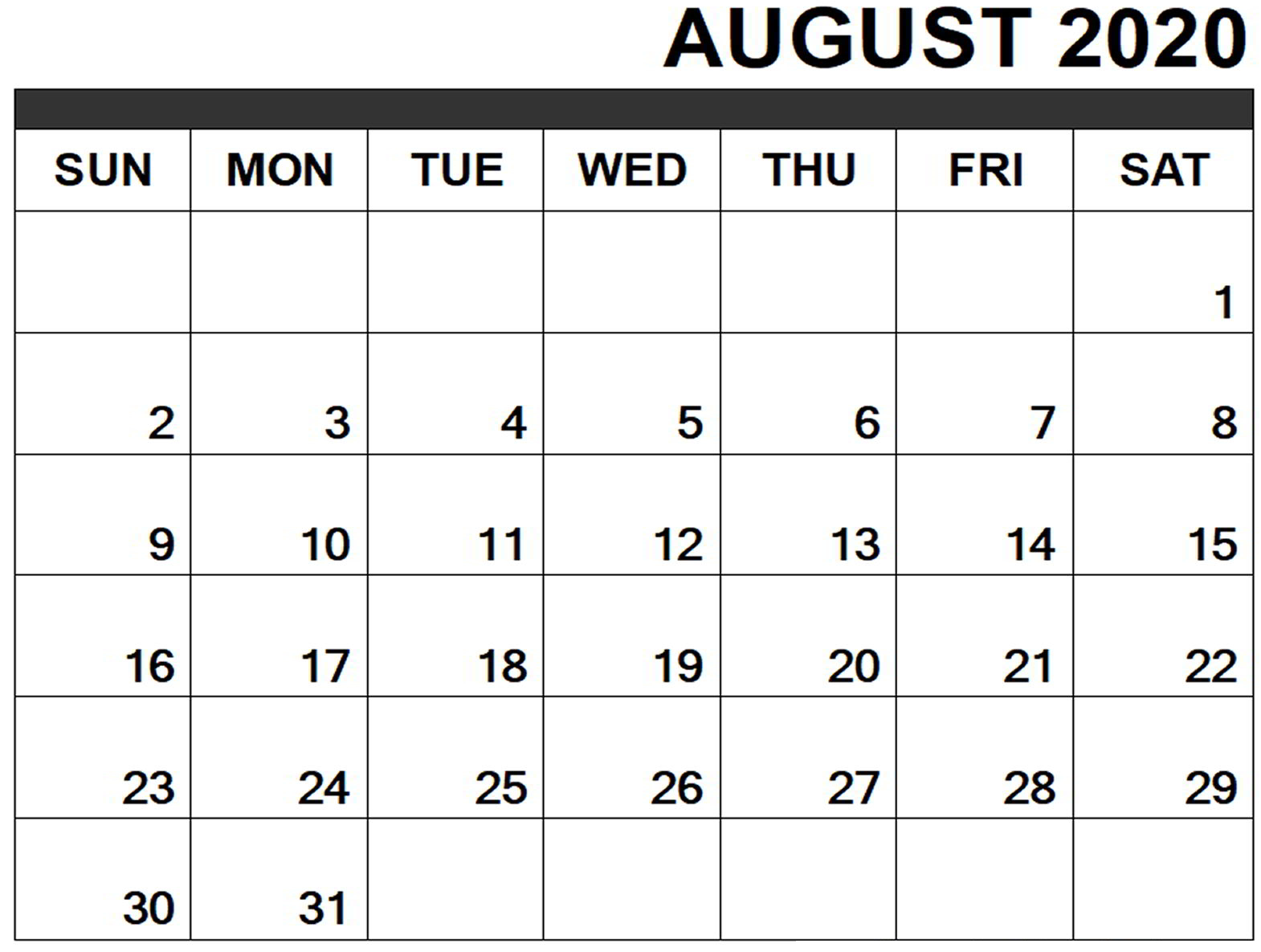 Online August 2020 Calendar Printable Usa School Holidays