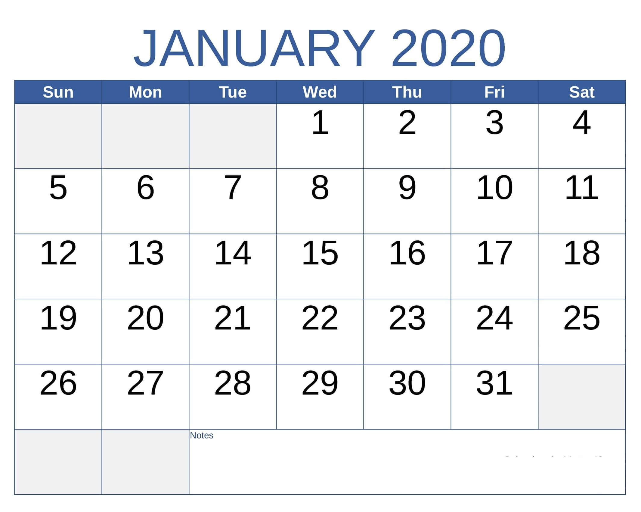 Online Free Printable January 2020 Calendar - 2019 Calendars