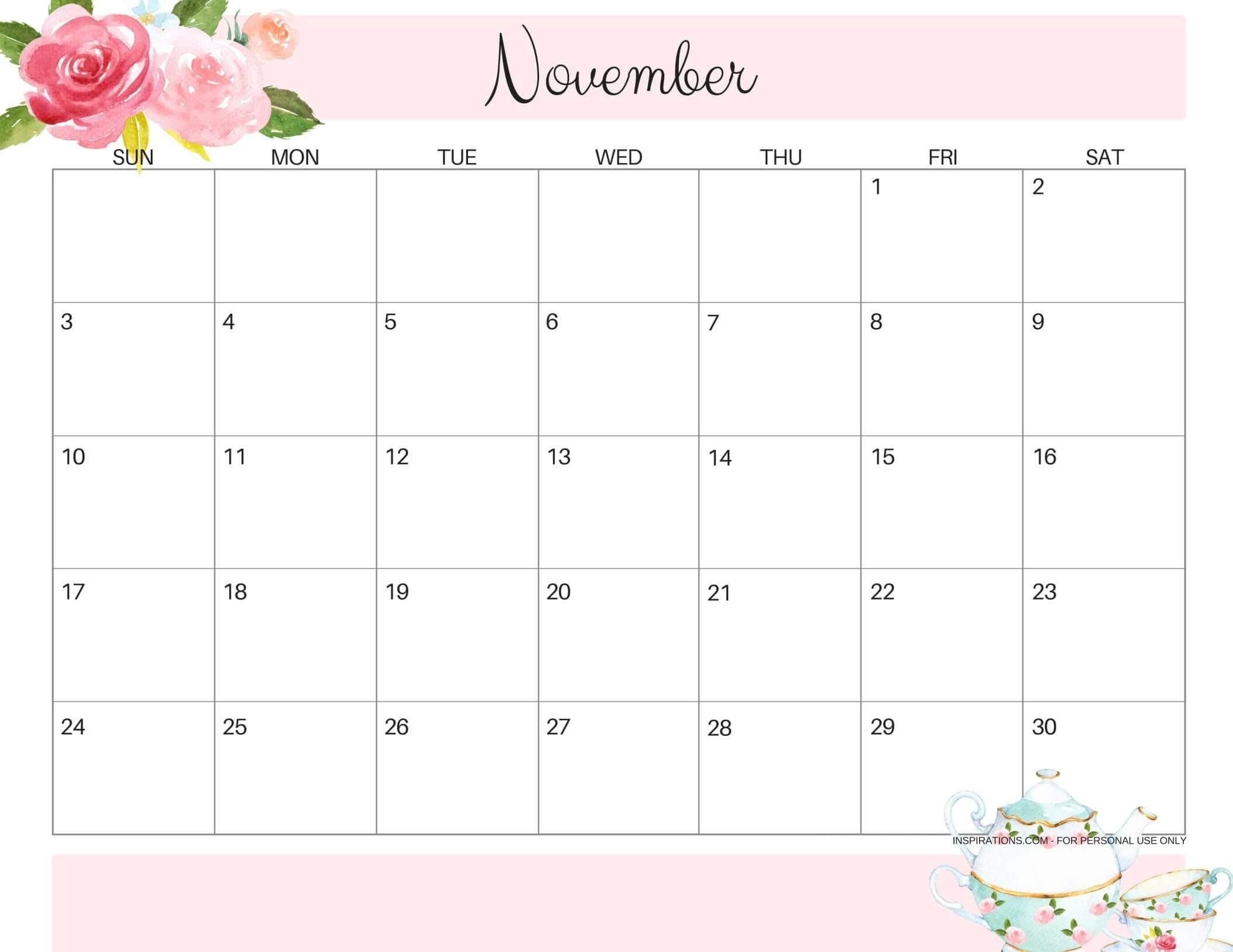 Online Free Printable November 2019 Calendar Sheets - Set