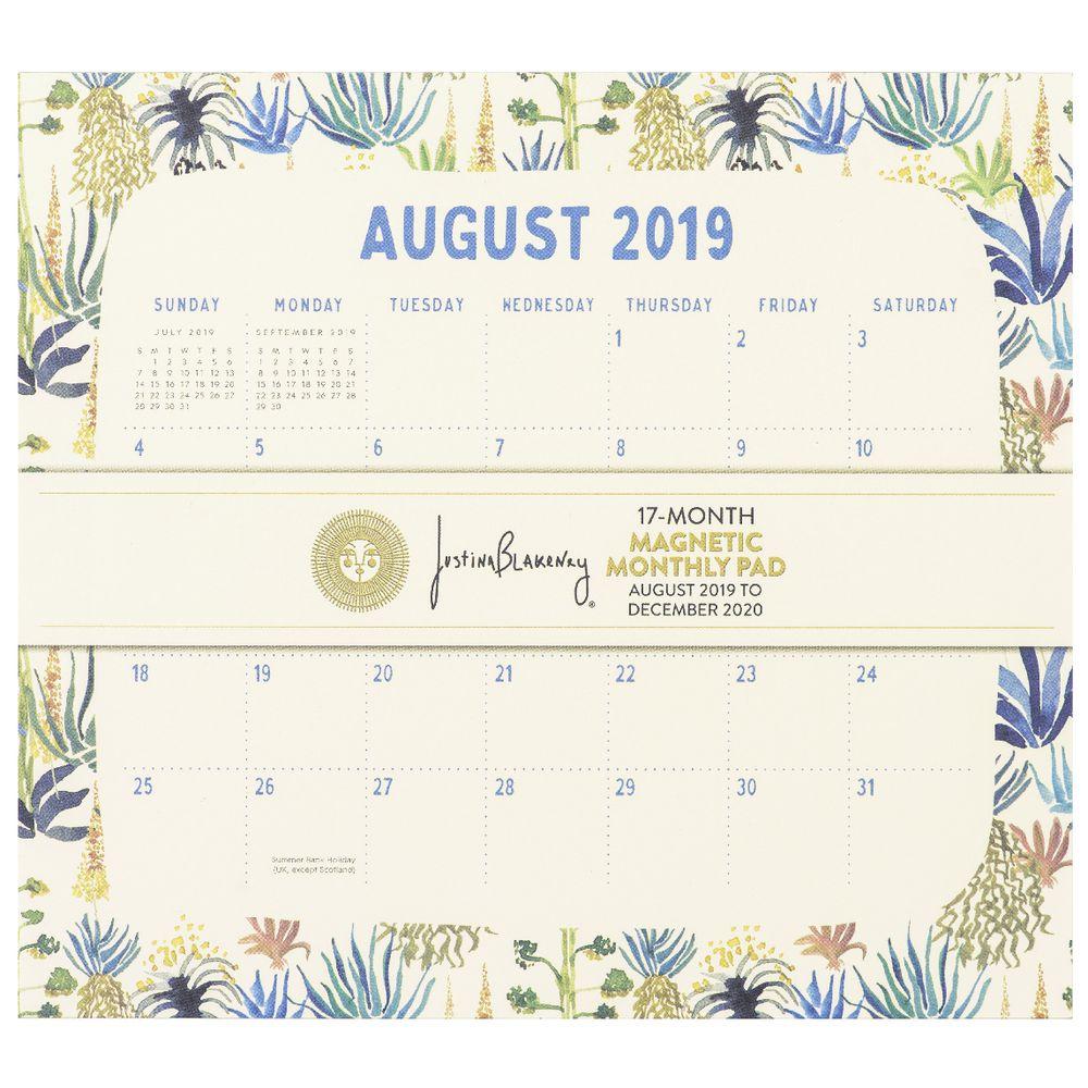 Orange Circle Magnetic Monthly Calendar Pad 2020 Botanicals