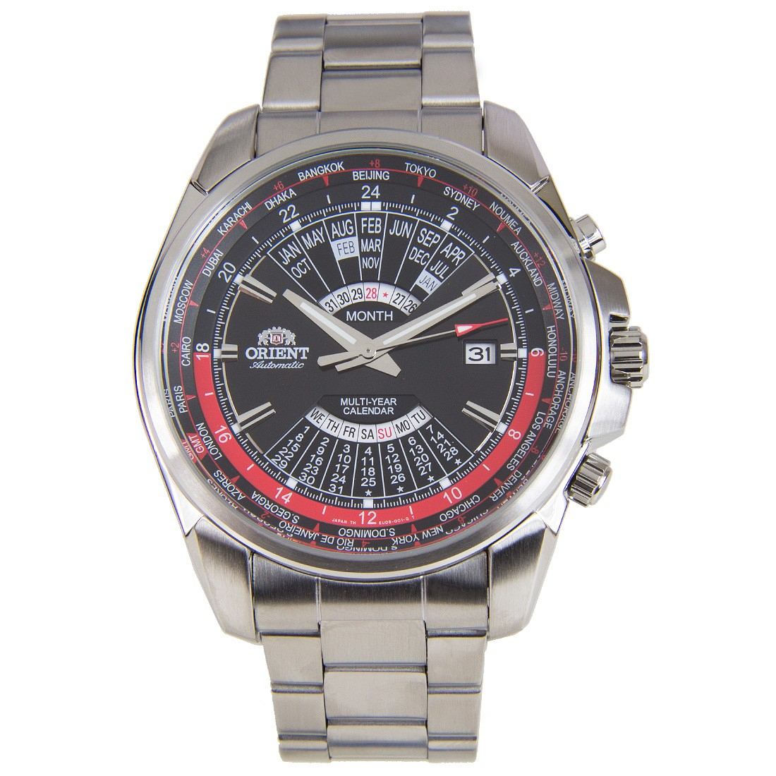 Orient Automatic World Time Multi Year Calendar Watch Eu0B001B