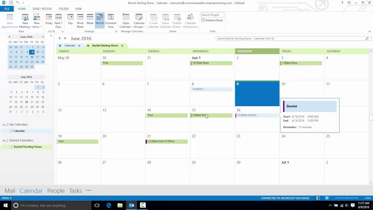 Outlook 2013 Overlay Calendar