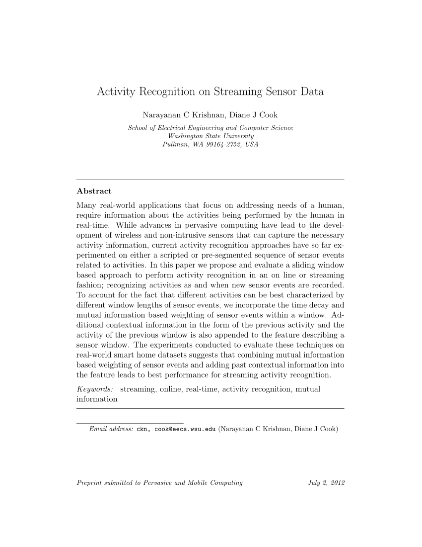 Pdf) Activity Recognition On Streaming Sensor Data