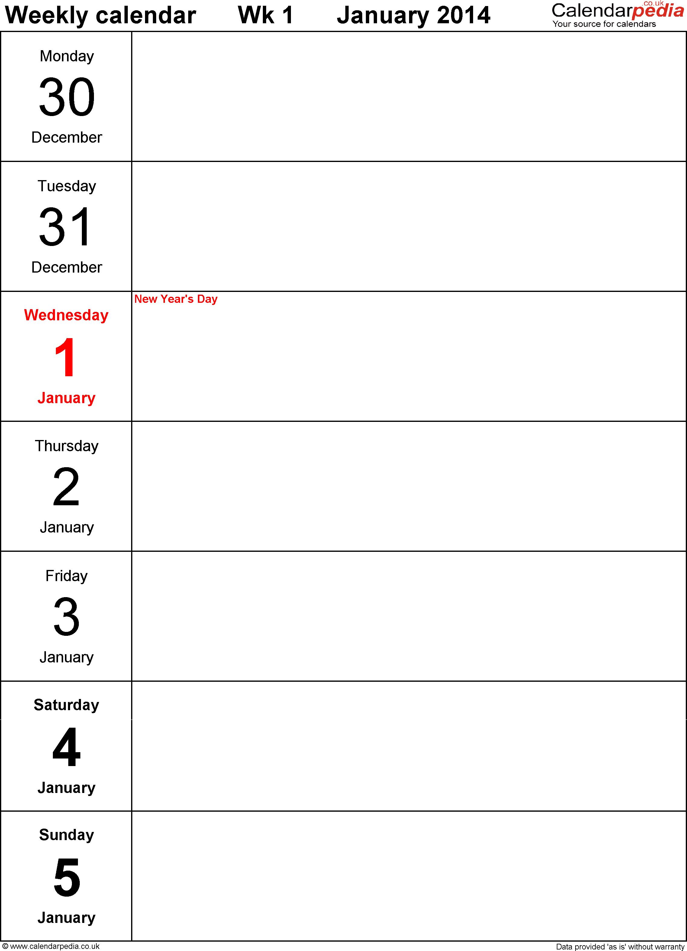 Pdf Template 4: Weekly Calendar 2014, Portrait Orientation