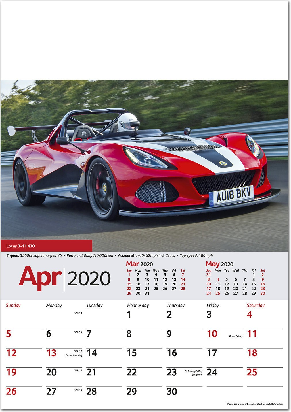 Performance Cars Wall Calendar 2020 - Rose Calendars