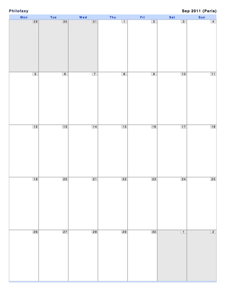 Philofaxy: Monthly View Calendars