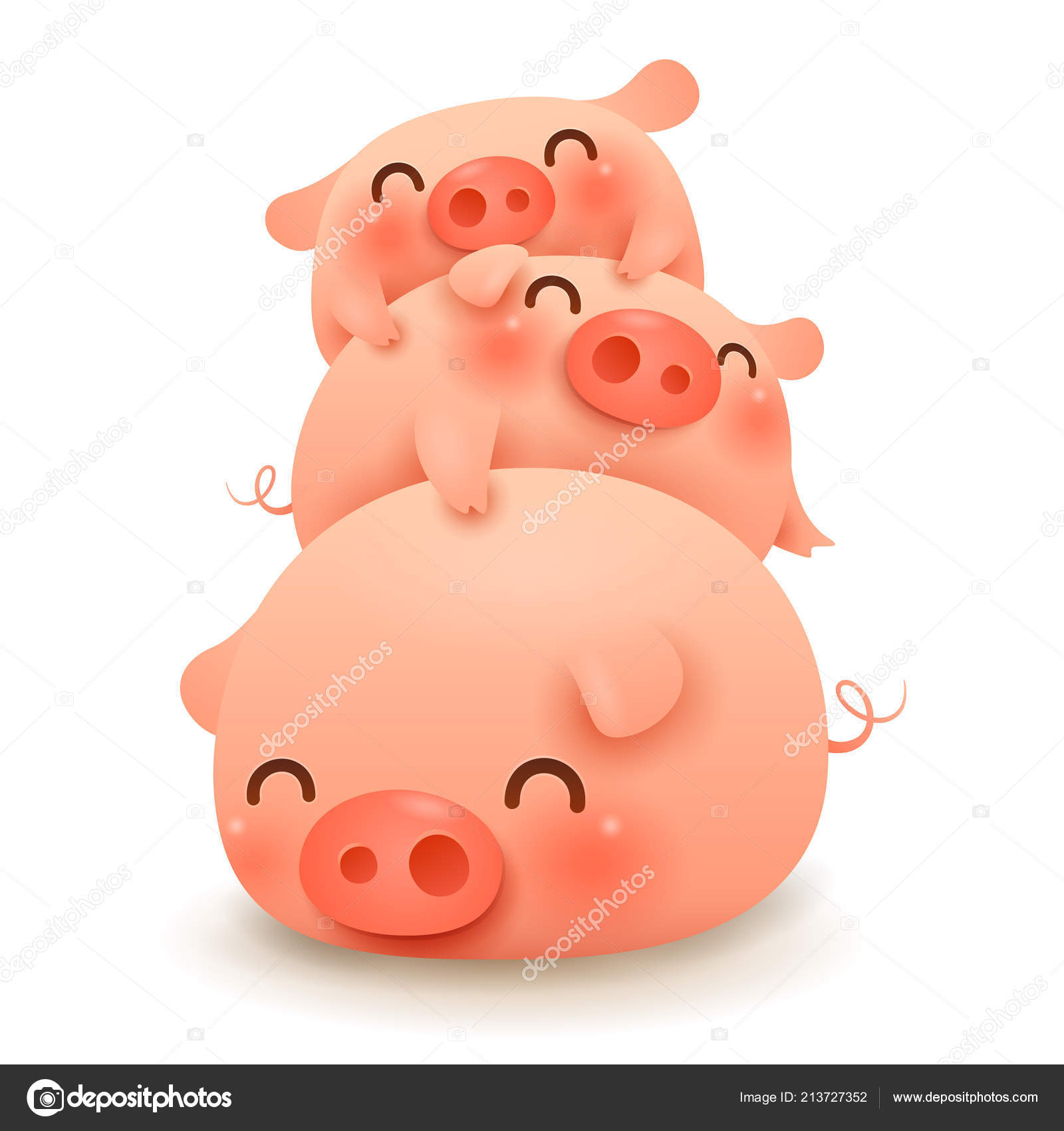 Pig Pile Three Little Pigs Chinese New Year Year Pig