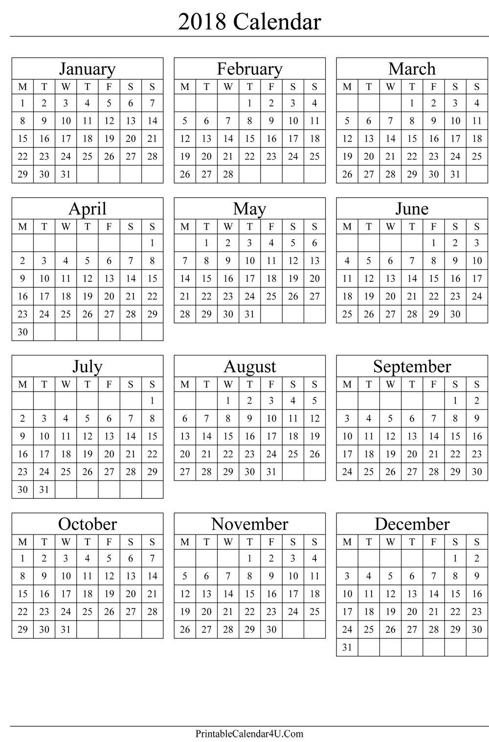 Pincalendar Printable On 2018 Calendar | Calendar 2019