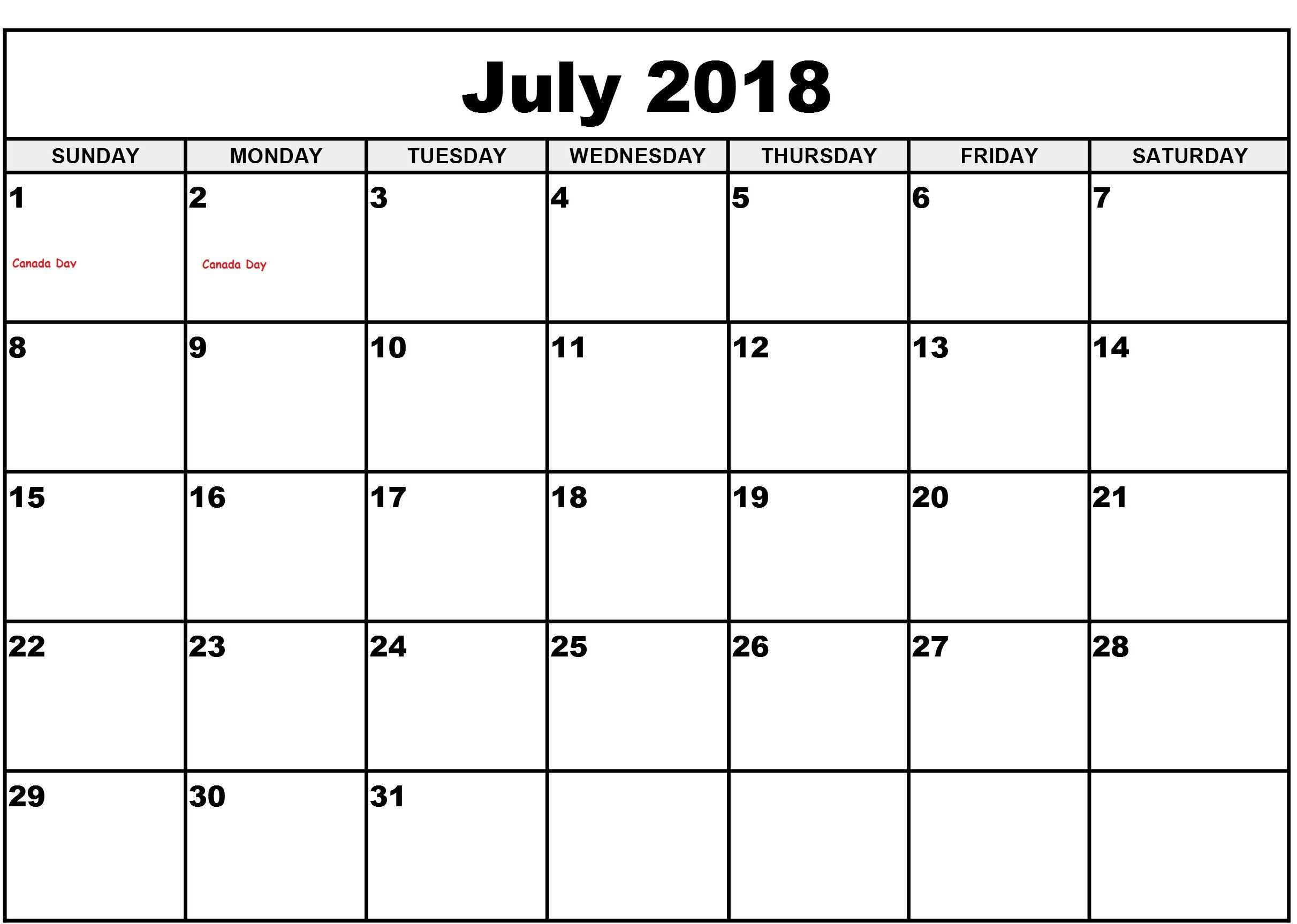 Pinprintable Calendar On July 2018 Calendar Holidays