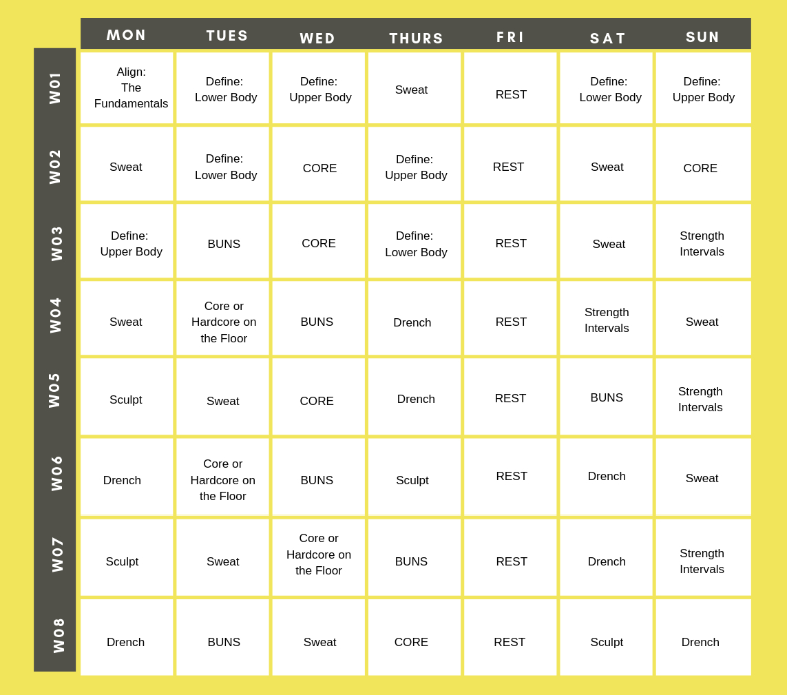 Piyo Calendar | Full Schedule & Workout List Ultimate Guide