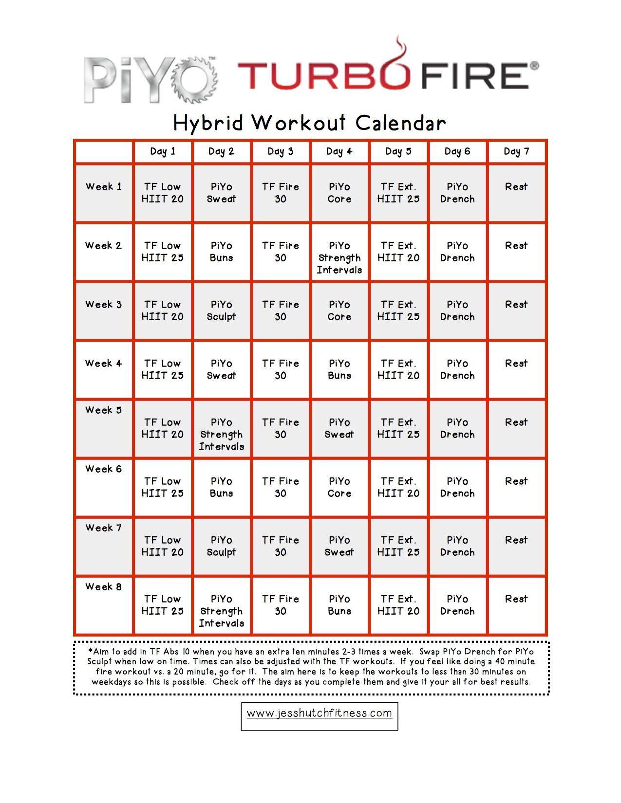 Piyo/turbofire Hybrid Calendar | Blend Workouts | Workout
