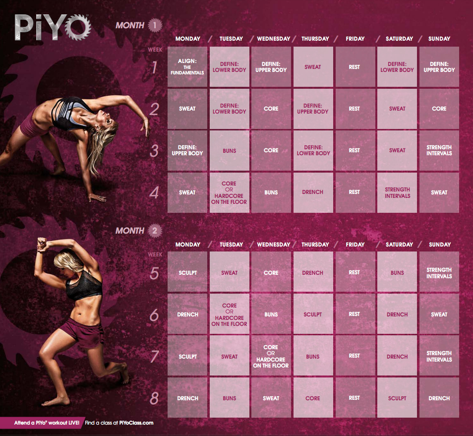 Piyo Workout Calendar